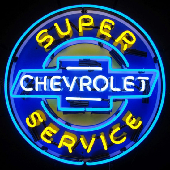 """CHEVY SERVICE NEON SIGN w/ BACKING--24""""w x 24""""h x 4""""d"""
