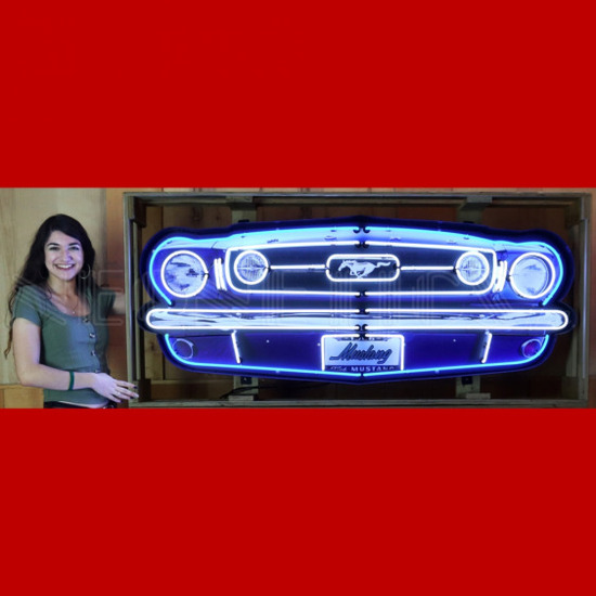 """FORD MUSTANG GRILL NEON SIGN IN STEEL CAN--60""""w x 23""""h x 6""""d"""