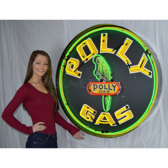 """POLLY GAS NEON SIGN IN STEEL CAN--36""""w x 36""""h x 6""""d"""