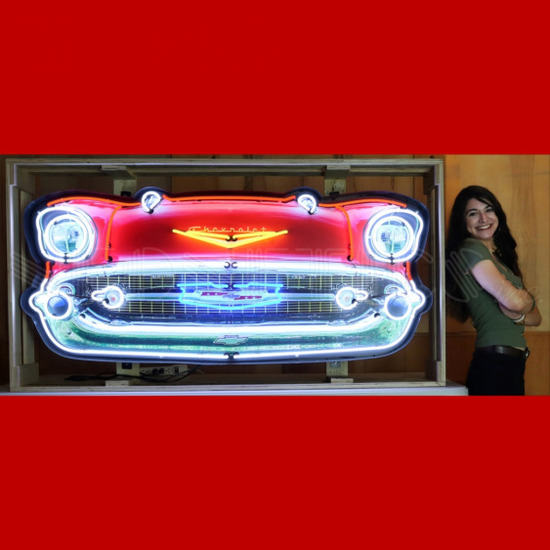 """57 CHEVY GRILL NEON SIGN IN STEEL CAN--60""""w x 29""""h x 6""""d"""