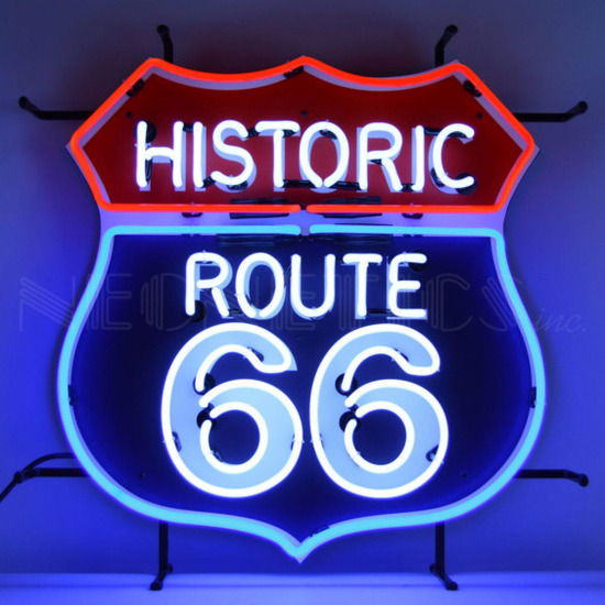 """ROUTE 66 NEON SIGN w/ BACKING--24""""w x 24""""h x 4""""d"""