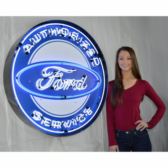 """FORD SERVICE NEON SIGN IN STEEL CAN--36""""w x 36""""h x 6""""d"""