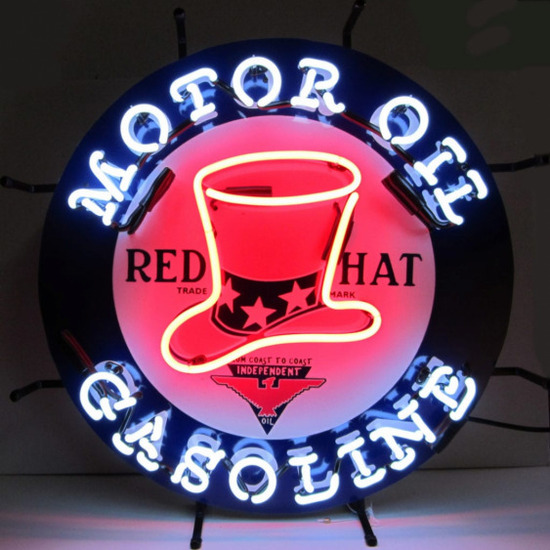 """RED HAT OIL-GAS NEON SIGN w/ BACKING--24""""w x 24""""h x 4""""d"""