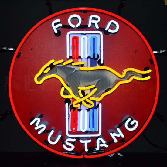 """MUSTANG NEON SIGN w/ BACKING--24""""w x 24""""h x 4""""d"""