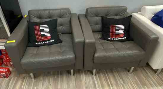 Grey Leather Arm Chairs                                           R1