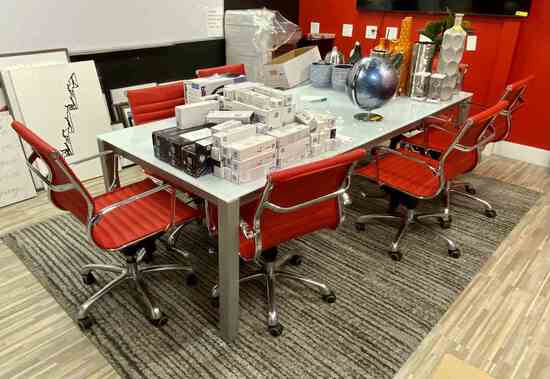Lot: 8 Chairs,Table, Rug, White Board                    R1