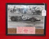 Dan Gurney Framed B&W Snap Shot &  Indy 150 Ticket