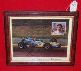 Framed 1970 Al Unser Sr. Autographed Fan Card