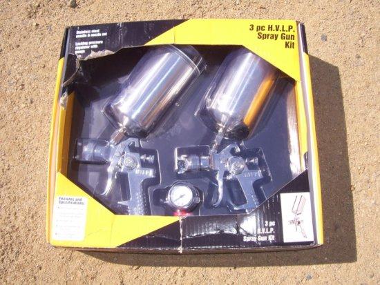 Unused 3-Piece H.V.L.P. Pneumatic Spray Gun Kit.