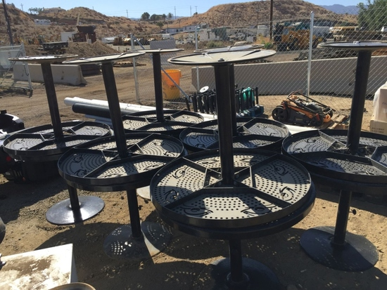 """Pallet of (12) Metal 36"""" Round Patio Tables."""