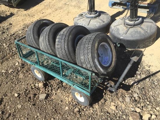 Garden Cart of (4) Golf Cart Tires & Rims.