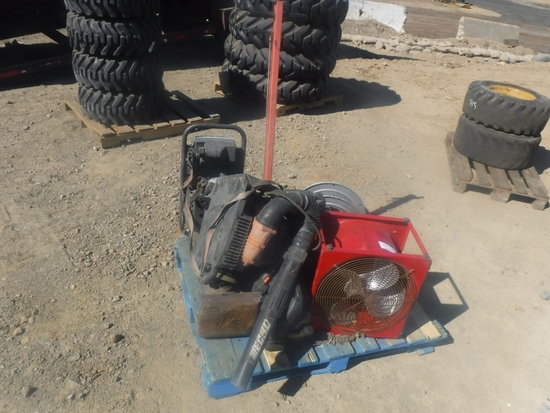 Pallet of Misc Items Including Wacker Blowers,