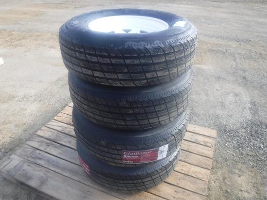 (4) Unused Gladiator ST225/75R15 Radial Tires