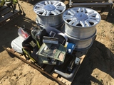 Pallet of Misc Items Including (4) Ford Rims,