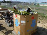 Box of Yard Equipment Including Ryobi Weed