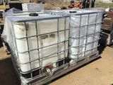 Lot of (2) 250 Gallon Plastic Containers in Cages.