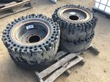 Pallet of (4) Solid Tires & Rims.