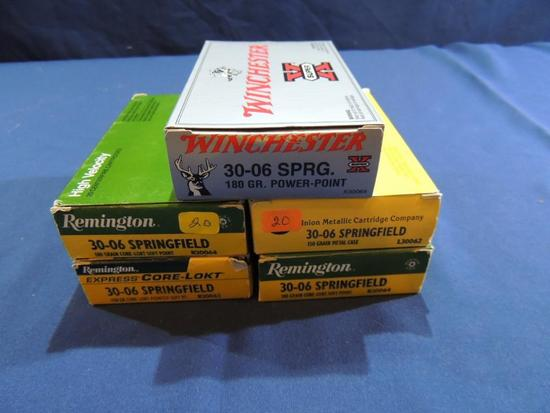 Five Boxes of 30-06 Springfield Ammo