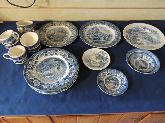 Lot of Assorted Blue China