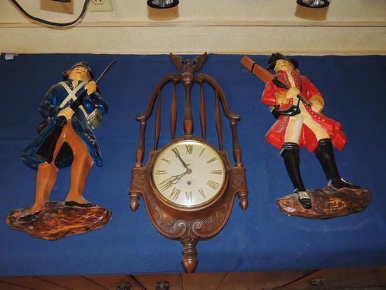 Revolutionary War Wall Hangings & Eight Day Wall Clock