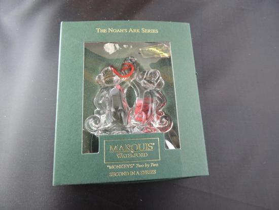 Waterford Lead Crystal Noahs Ark Series Monkey Ornament