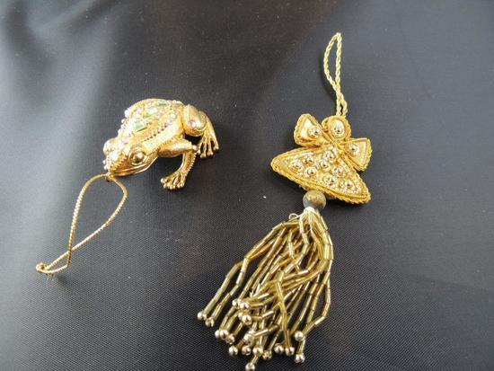 Two Hand Jeweled Decorative Ornaments