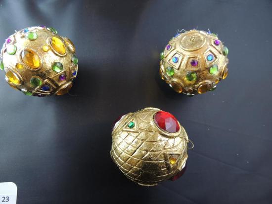 Three Hand Beaded Christmas Ball Ornaments