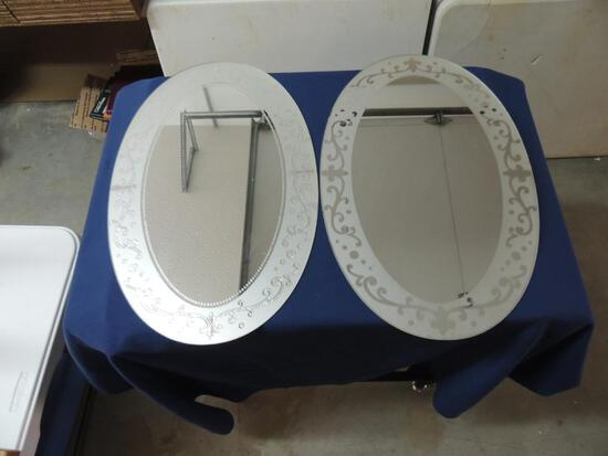 Two Antique Oval Mirrors