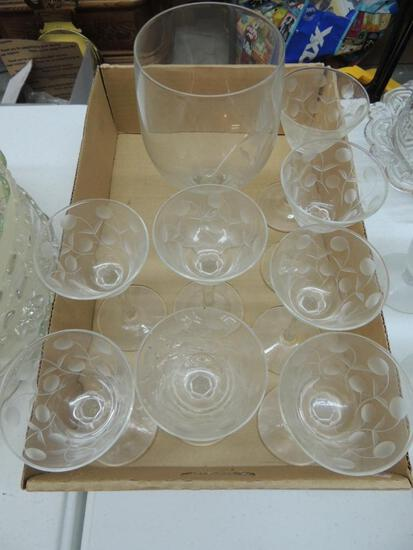 Etched Glassware Lot