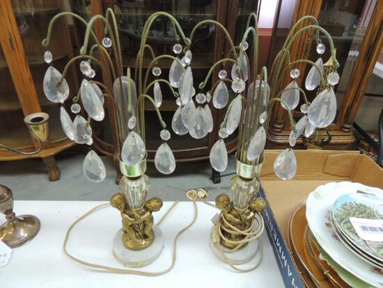 Vintage Teardrop Cherub Lamps