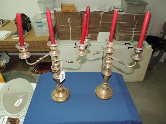 Pair of Silver Plate Candelabras