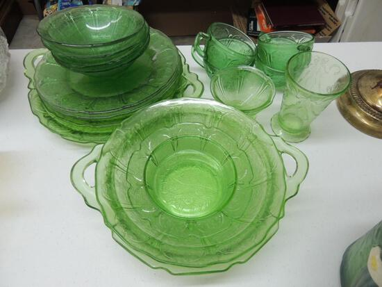 Large Lot of Green Depression Glass