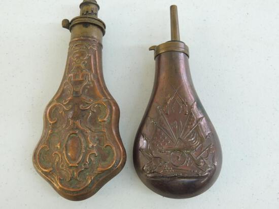 Two Antique Copper Powder Flasks