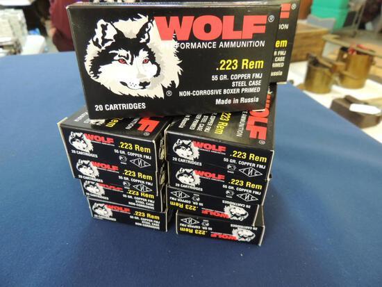 Ten Boxes of Wolf 223 Rem Ammunition