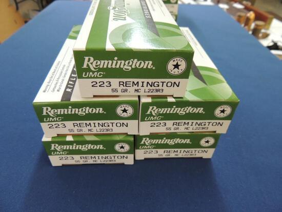 Five Boxes of Remington 223 Rem