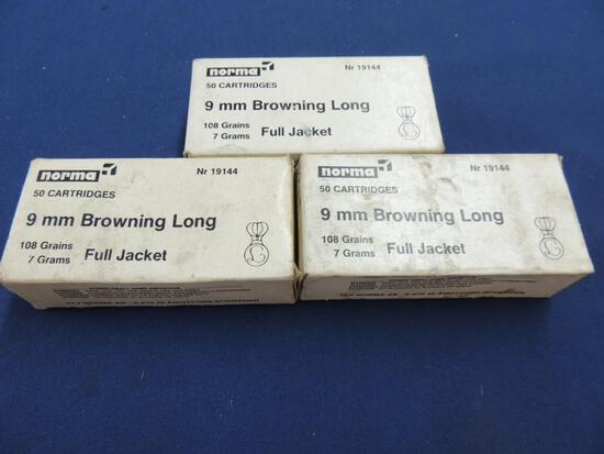 Three Full Boxes of Norma 9mm Browning Long Ammo