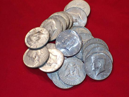 Twenty-Five Clad Kennedy Half Dollars