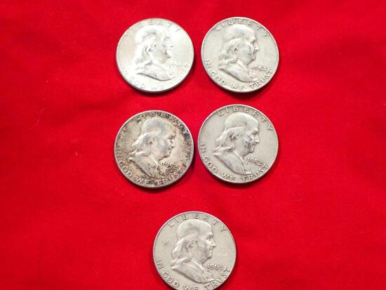 Five Franklin Half Dollars