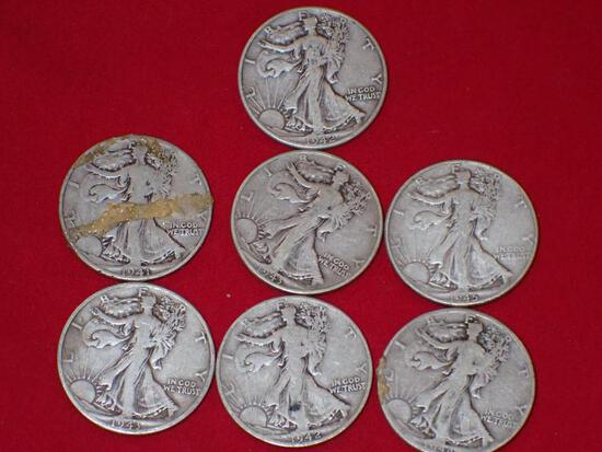 Seven Walking Liberty Half Dollars