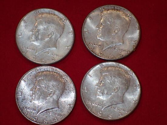 Four Silver Kennedy Half Dollars
