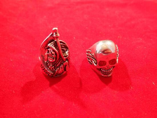 Two Mexican Silver Skull Rings