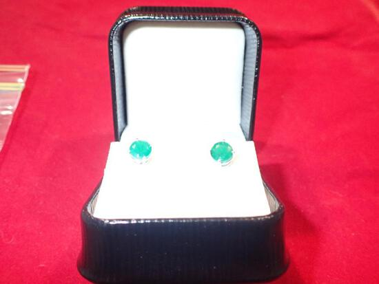 2.03 Carat Natural Emerald Stud Earrings