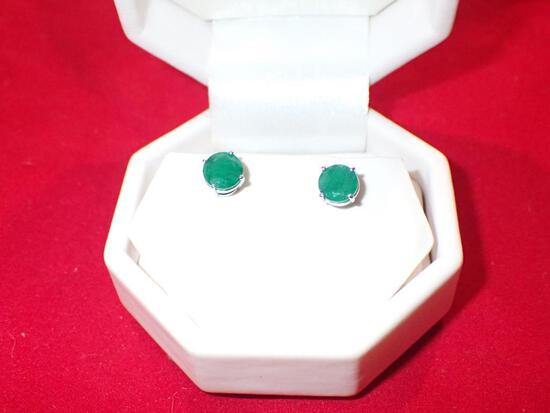 2.00 Carat Natural Emerald Stud Earrings