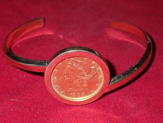 1898 Motto Above Eagle $5 Gold Coin Bracelet