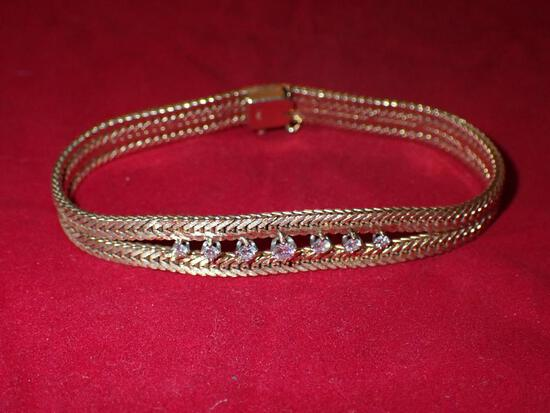 Custom 14K Gold and Diamond Bracelet