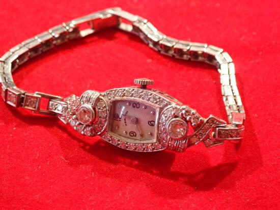 Ladies Hamilton Platinum and Diamond Watch