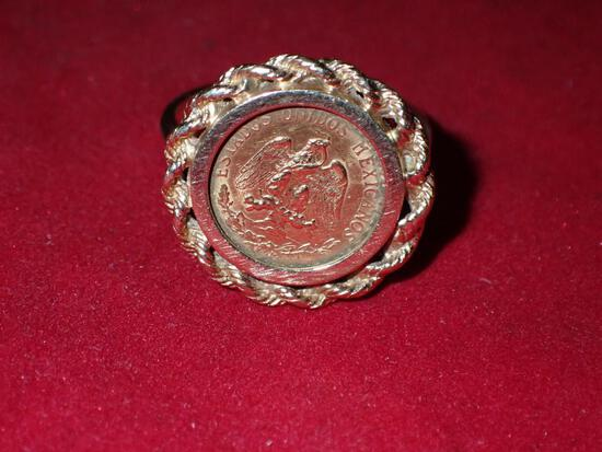 Mexican Gold Coin Ring