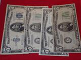 $5 Silver Certificate and three $5 Federal Reserve Notes