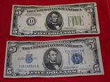 Two 1934 $5 Bills