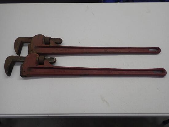 Two 36 Inch Pipe Wrenches